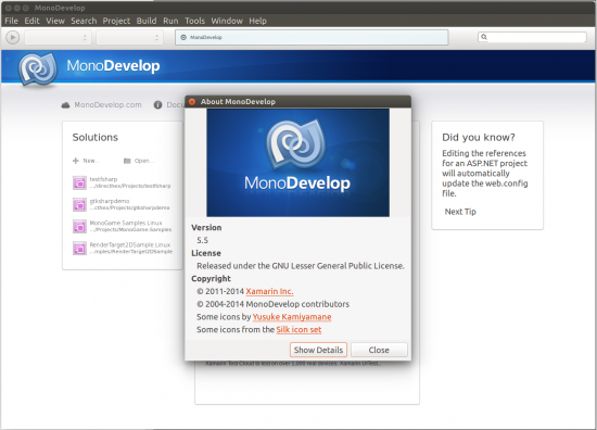 MonoDevelop 5.5 on Ubuntu 14.04